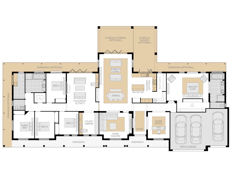 Bronte Executive Grande Manor One- Acreage Floor Plan Upgrade- McDonald Jones