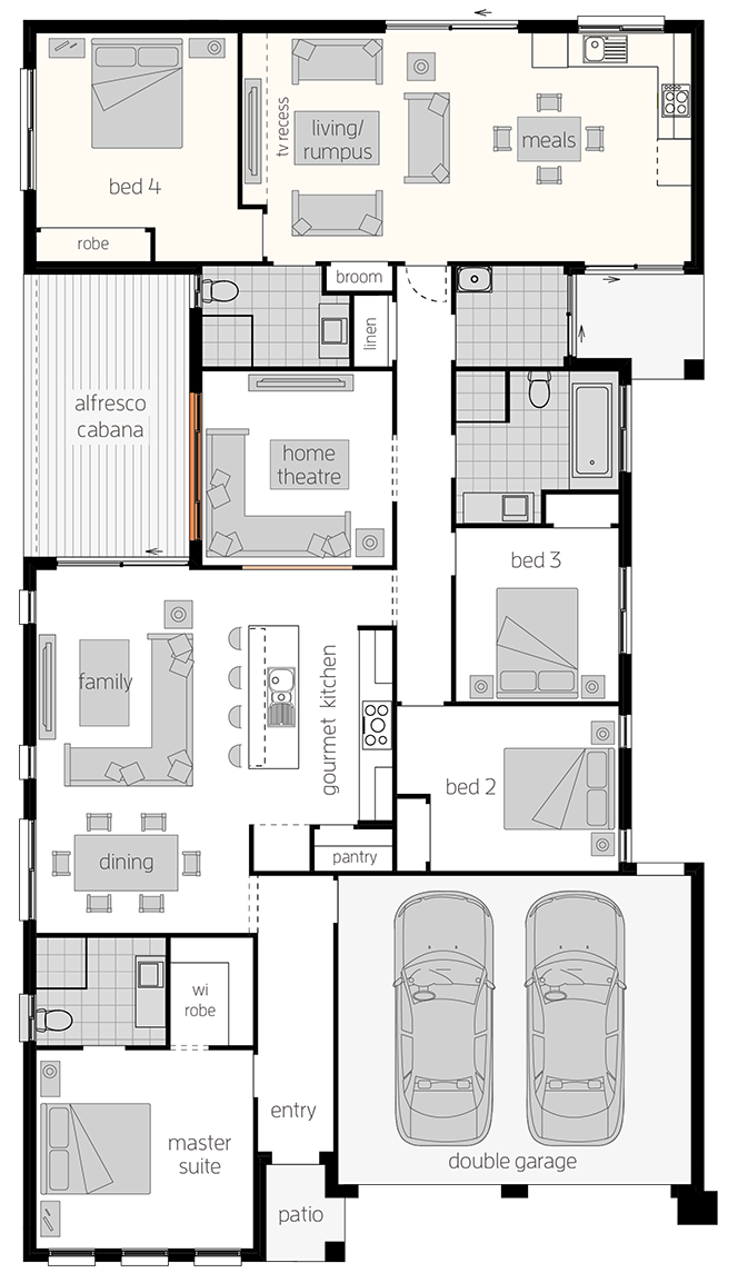 Dual Living Two- Single Storey Floor Plan - McDonald Jones Homes