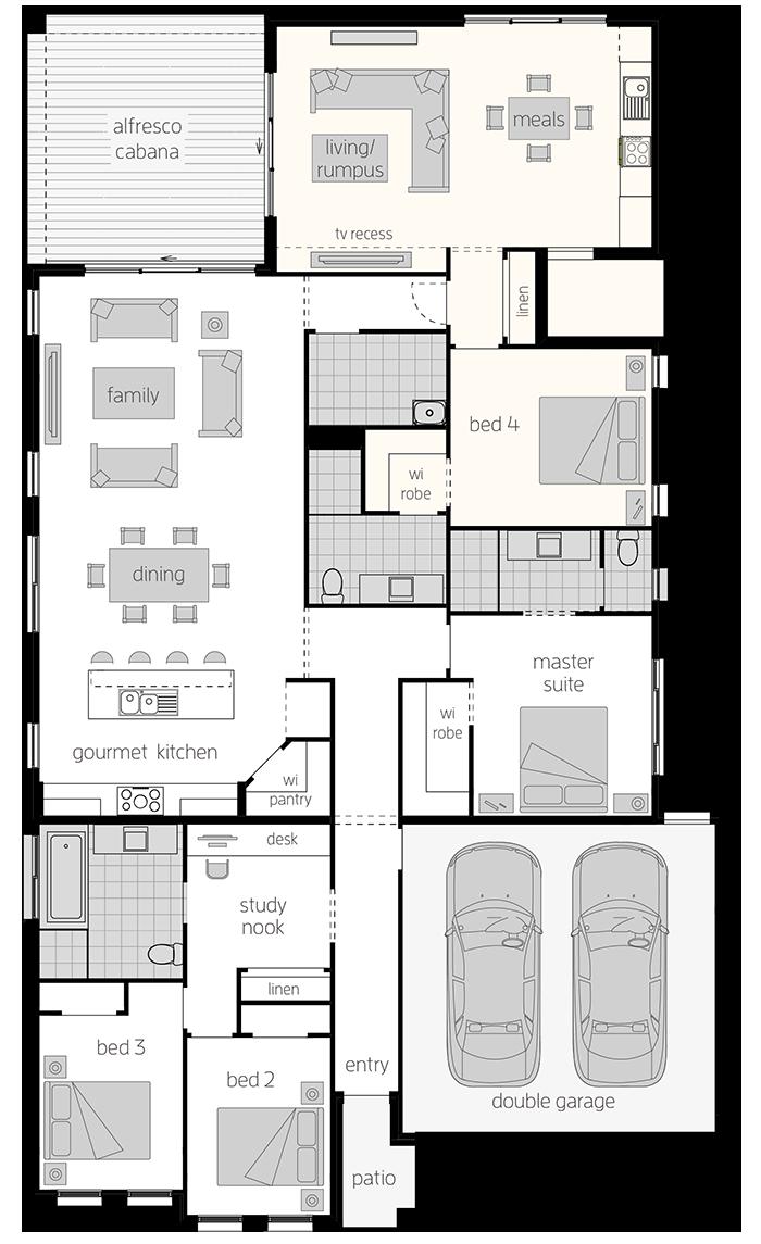 Dual Living Three- Single Storey Floor Plan - McDonald Jones Homes