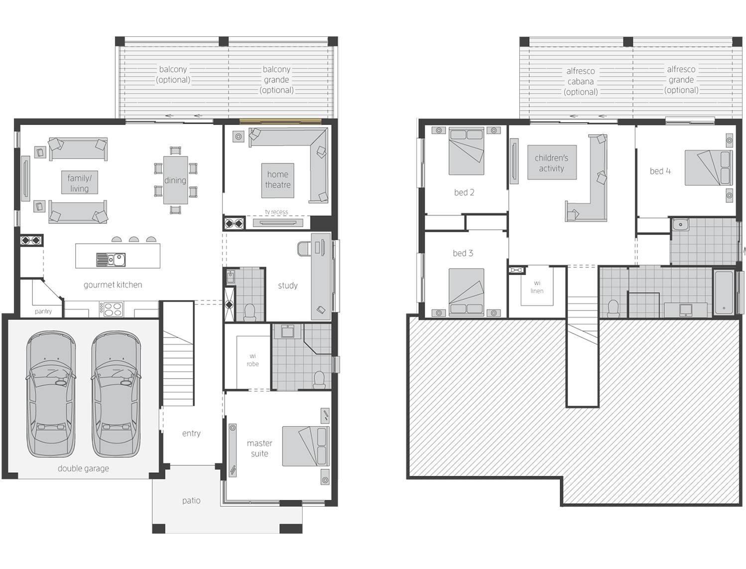 Horizon Split Level 4 Bed- Split Level Floor Plan - McDonald Jones