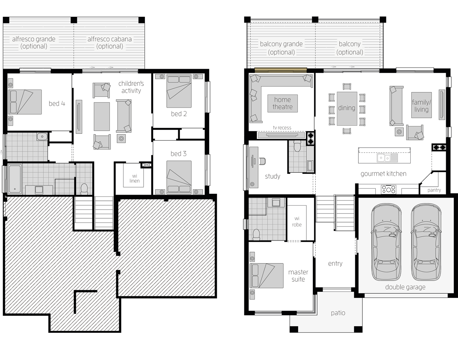 Horizon Tri Level 4 Bed- Split Level Floor Plan - McDonald Jones