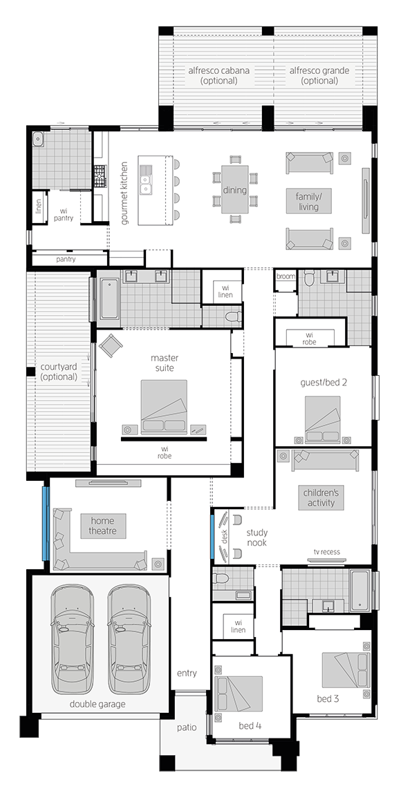 Anchorage Four- Single Storey Floor Plan- McDonald Jones