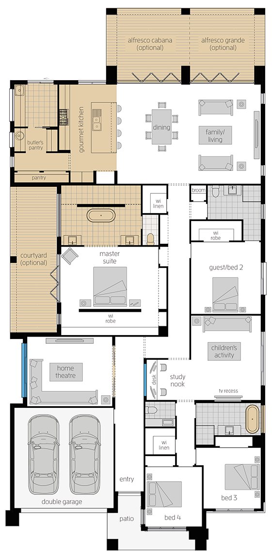 Anchorage Four- Single Storey Floor Plan Upgrade- McDonald Jones