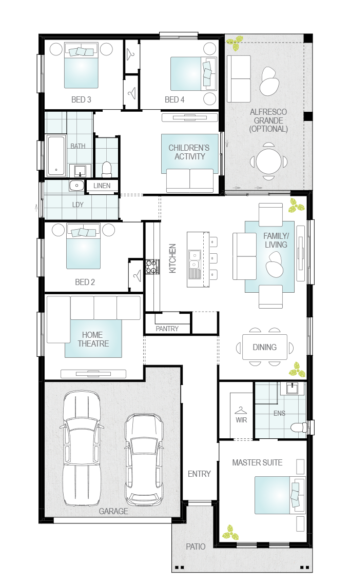 Almeria Four- Single Storey Floor Plan- McDonald Jones