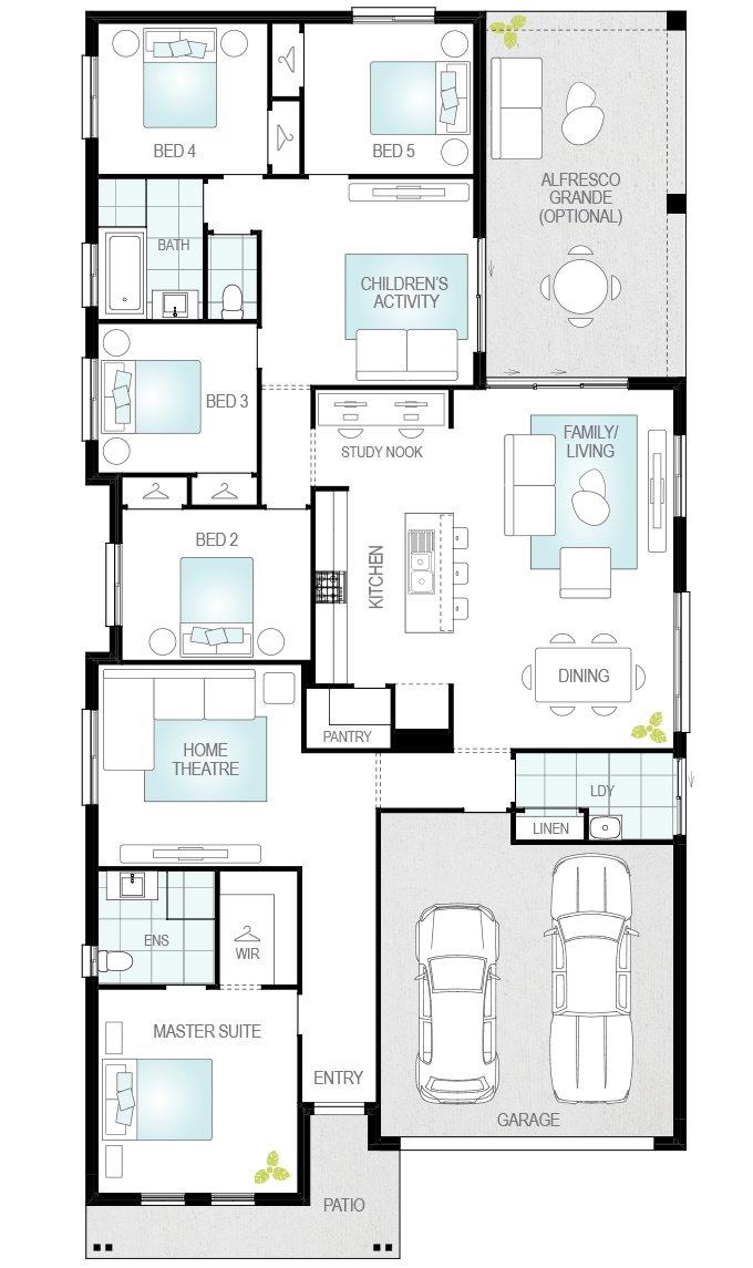 Almeria Executive- Single Storey Floor Plan- McDonald Jones
