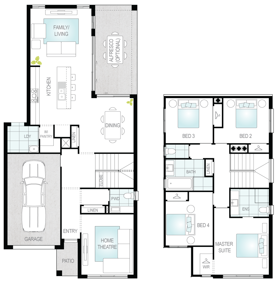 Daytona One- Two Storey Floor Plan- McDonald Jones