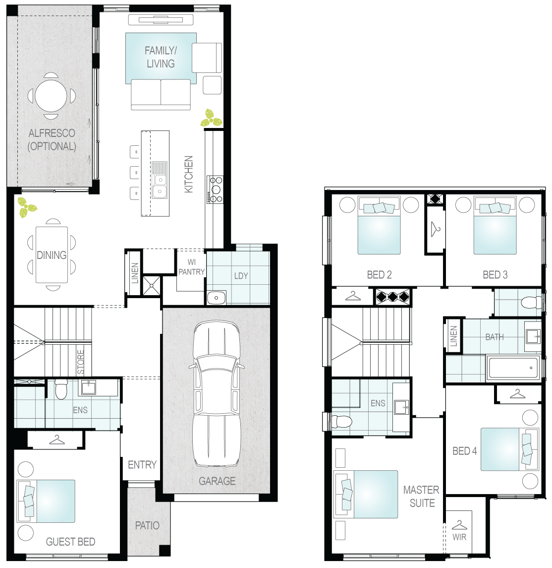 Daytona Two- Two Storey Floor Plan- McDonald Jones