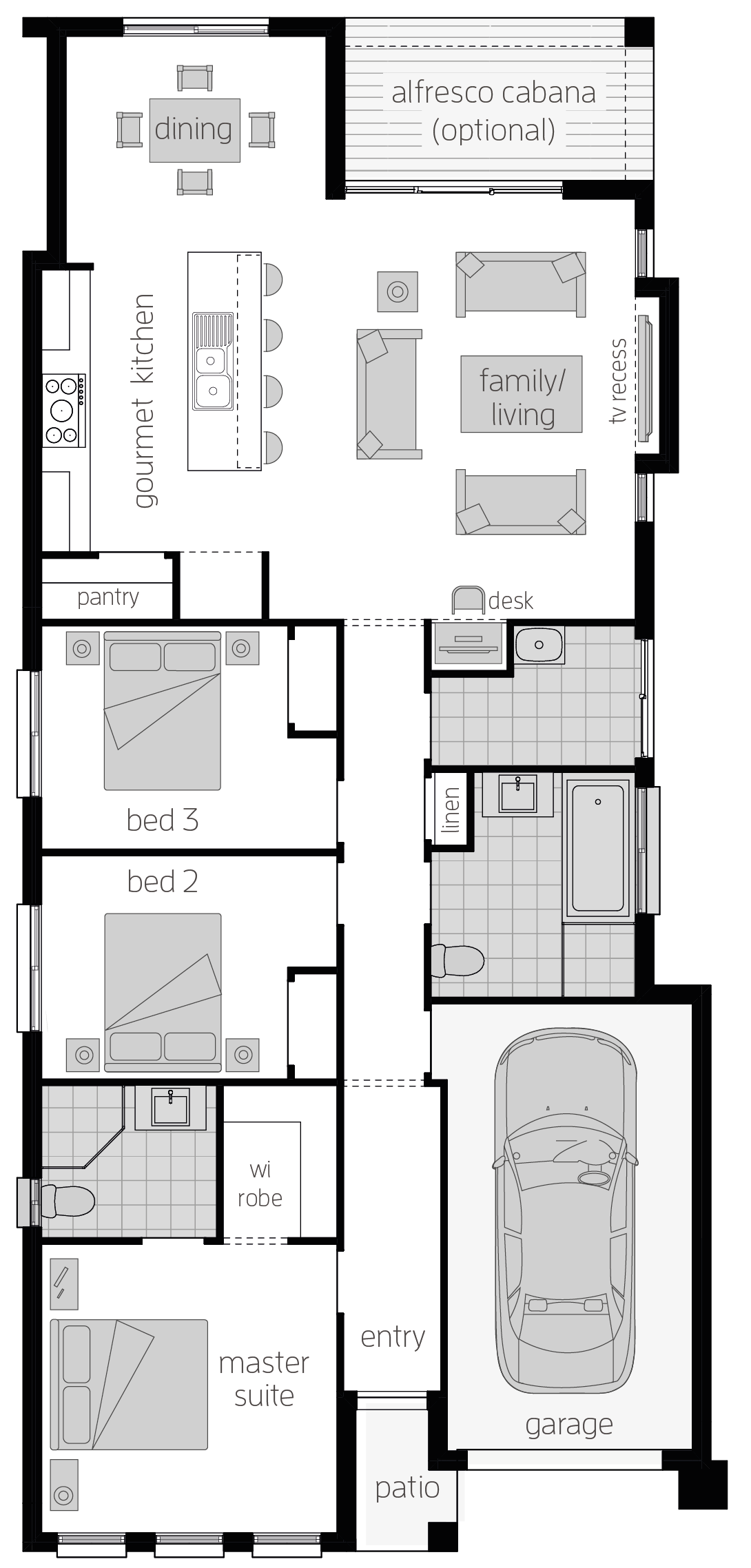 Hamilton Two- Single Storey Floor Plan - McDonald Jones