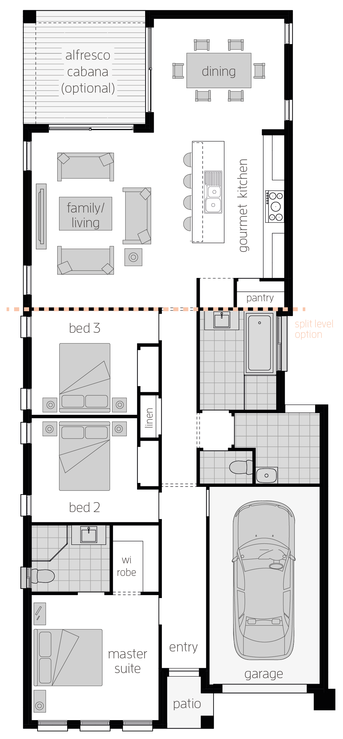 Hamilton Three- Single Storey Floor Plan - McDonald Jones