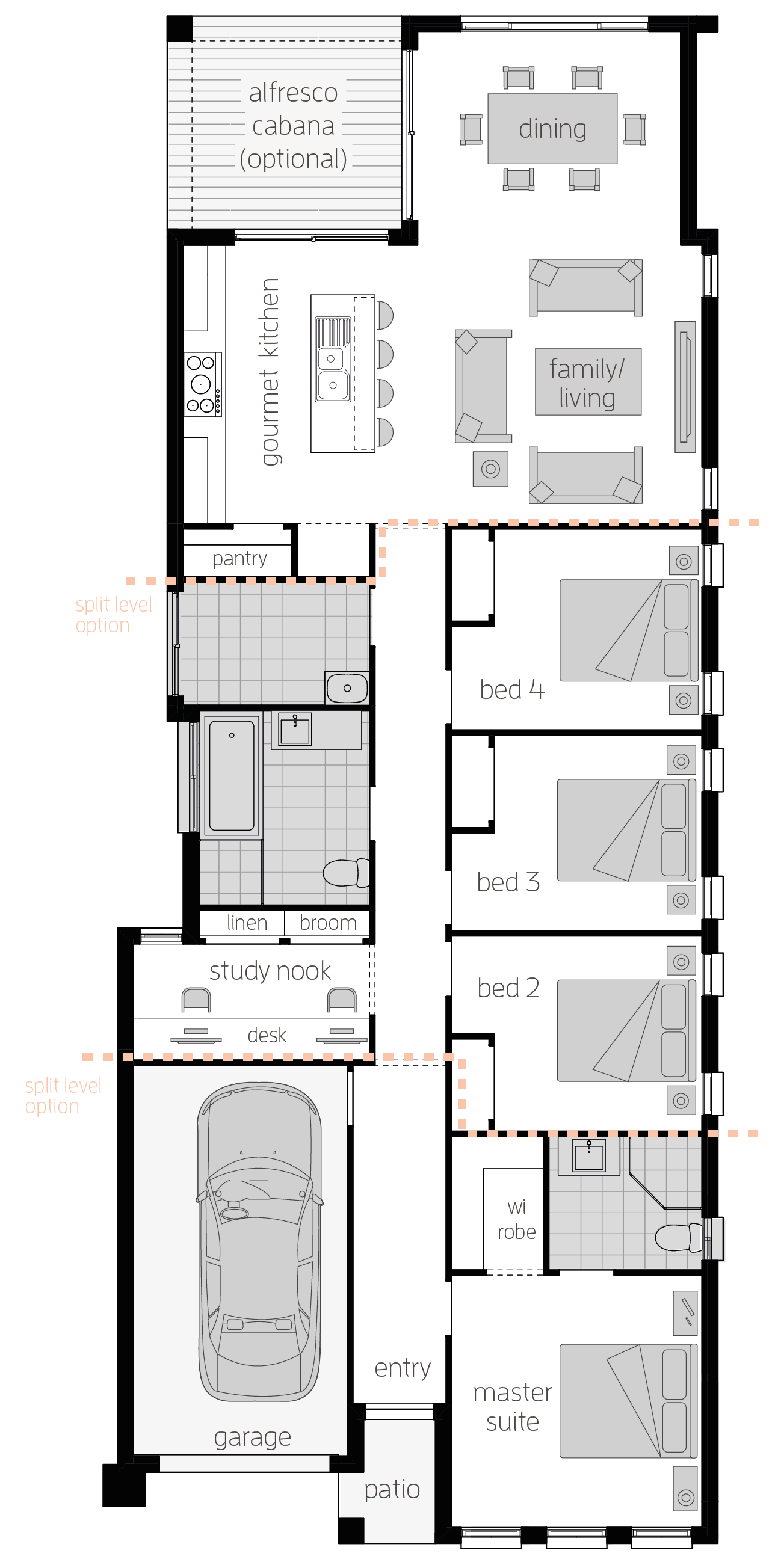 Hamilton Four- Single Storey Floor Plan - McDonald Jones