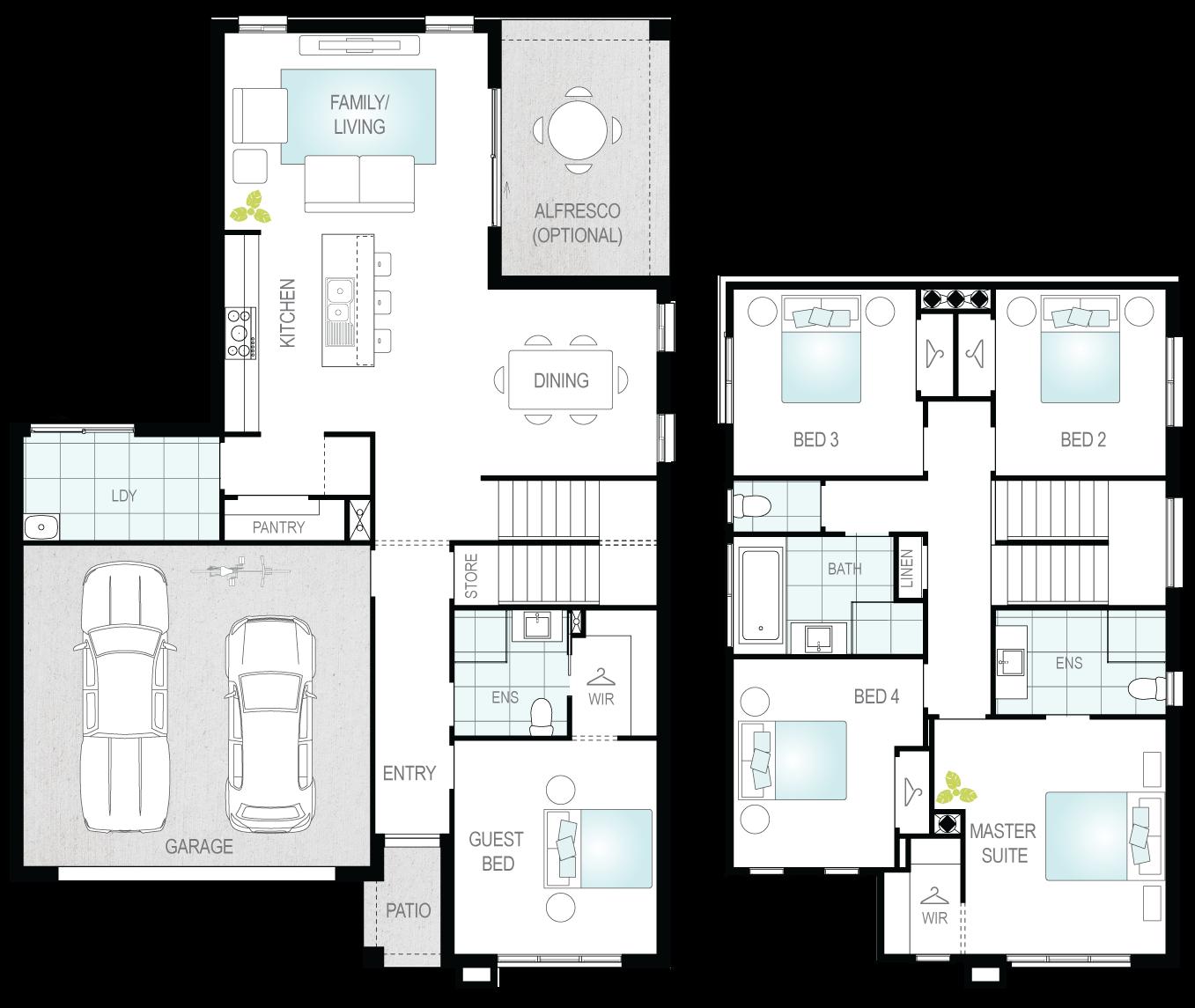 Suzuka Two- Two Storey Floor Plan- McDonald Jones