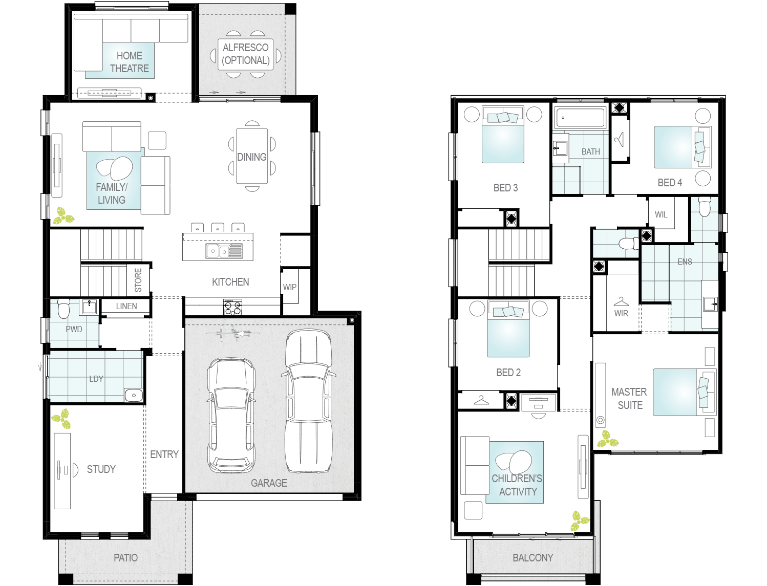 Valiente Two- Two Storey Floor Plan- McDonald Jones