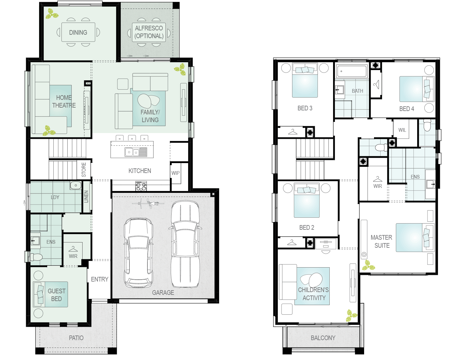 Valiente Two- Two Storey Upgrade Floor Plan- McDonald Jones