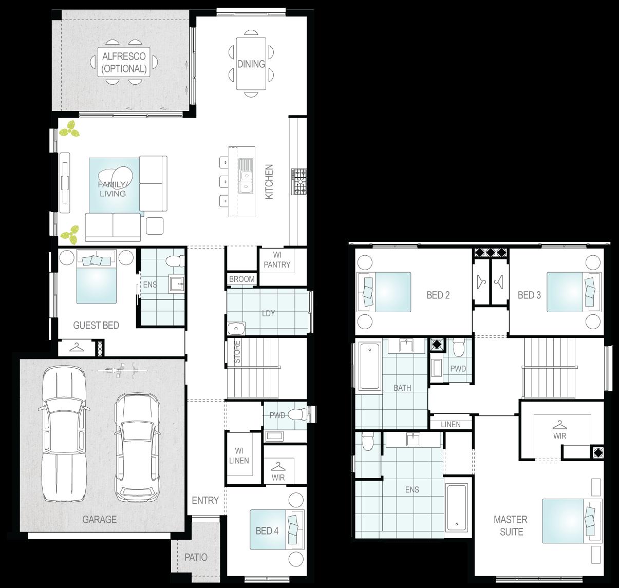 Winton Two- Two Storey Floor Plan- McDonald Jones