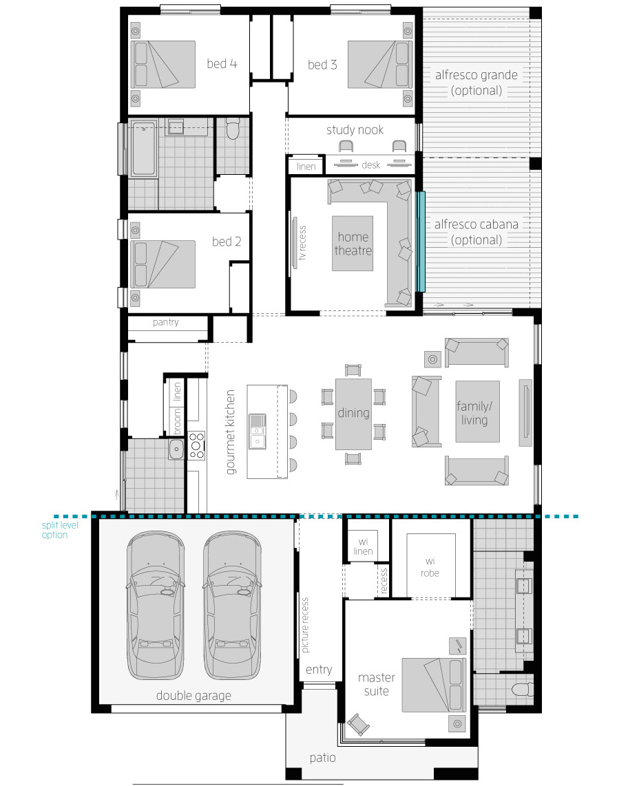 Floor Plan - Broadbeach Zero - McDonald Jones Homes