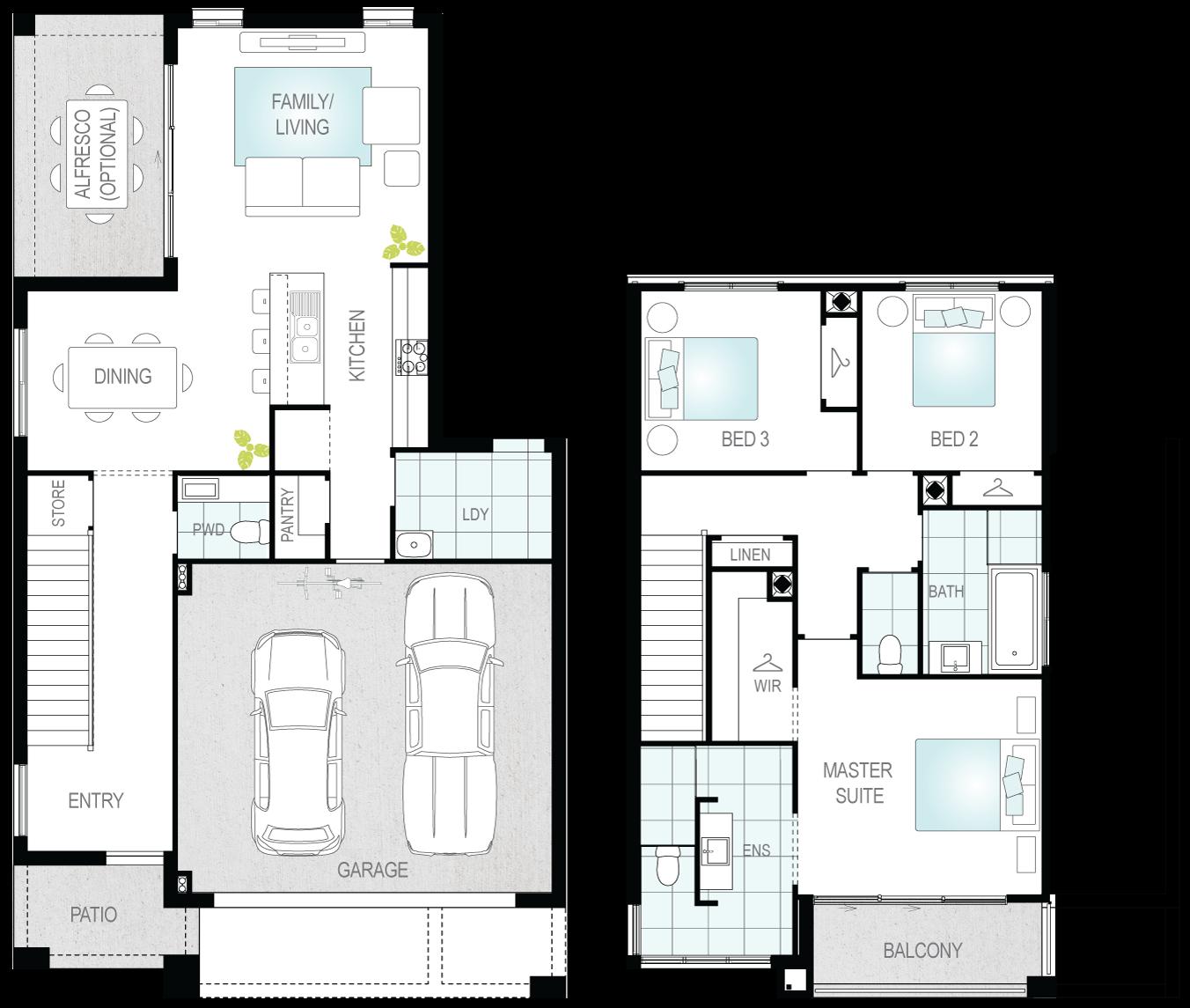 Archerfield- Two Storey Floor Plan- McDonald Jones