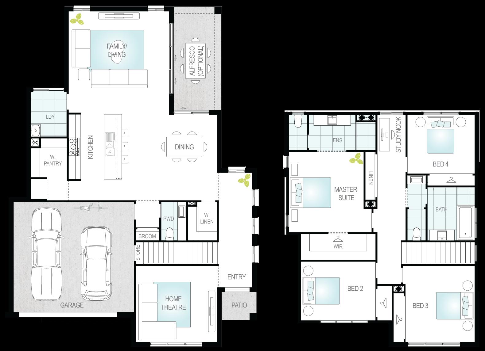 Anglesey - Two Storey Floor Plan- McDonald Jones