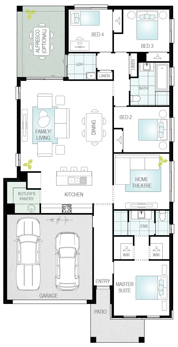 Lucia Three- Single Storey Floor Plan Upgrade- McDonald Jones