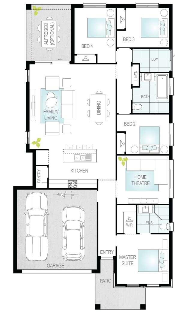 Lucia One- Single Storey Floor Plan- McDonald Jones