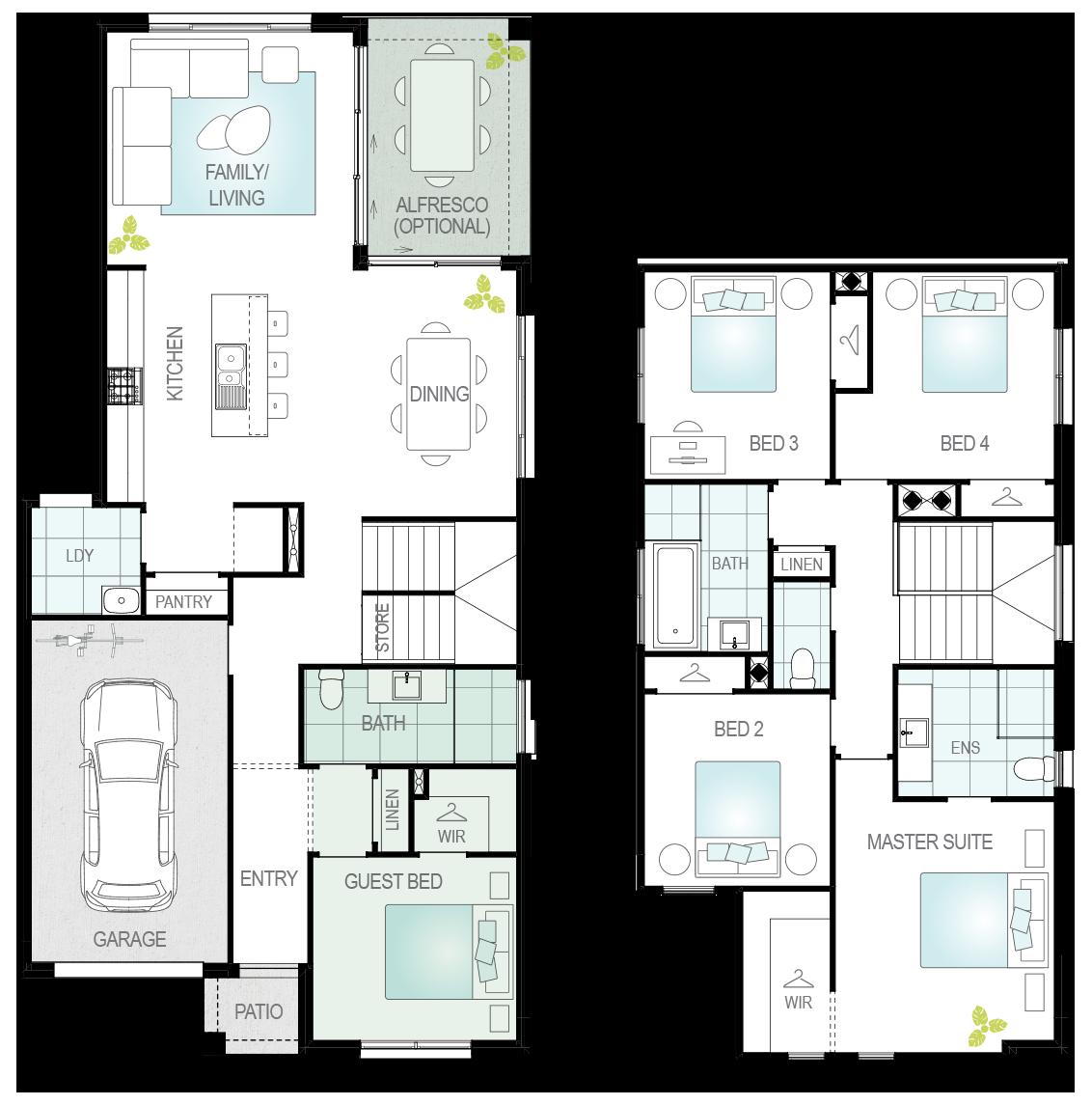 Cresmina- Two Storey Floor Plan Upgrade- McDonald Jones