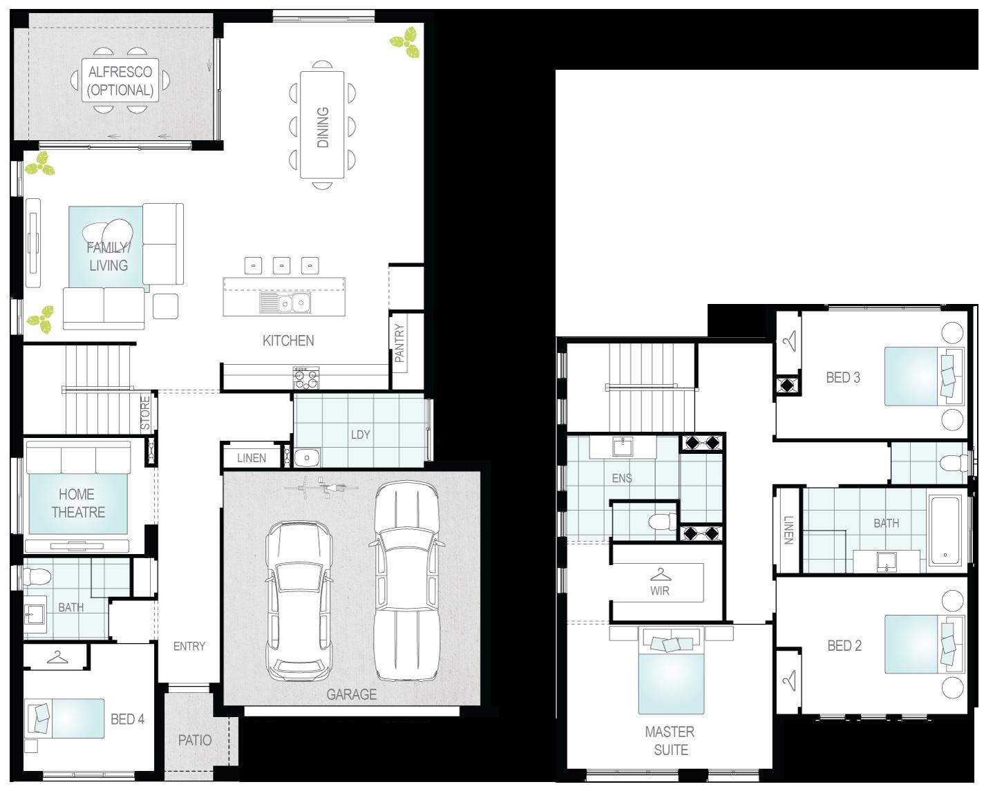 Monza- Two Storey Floor Plan- McDonald Jones