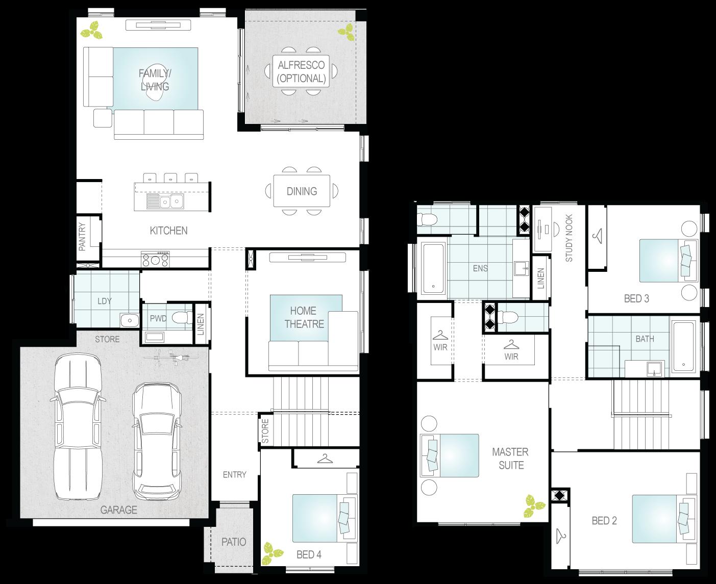 Sandown- Two Storey Floor Plan- McDonald Jones