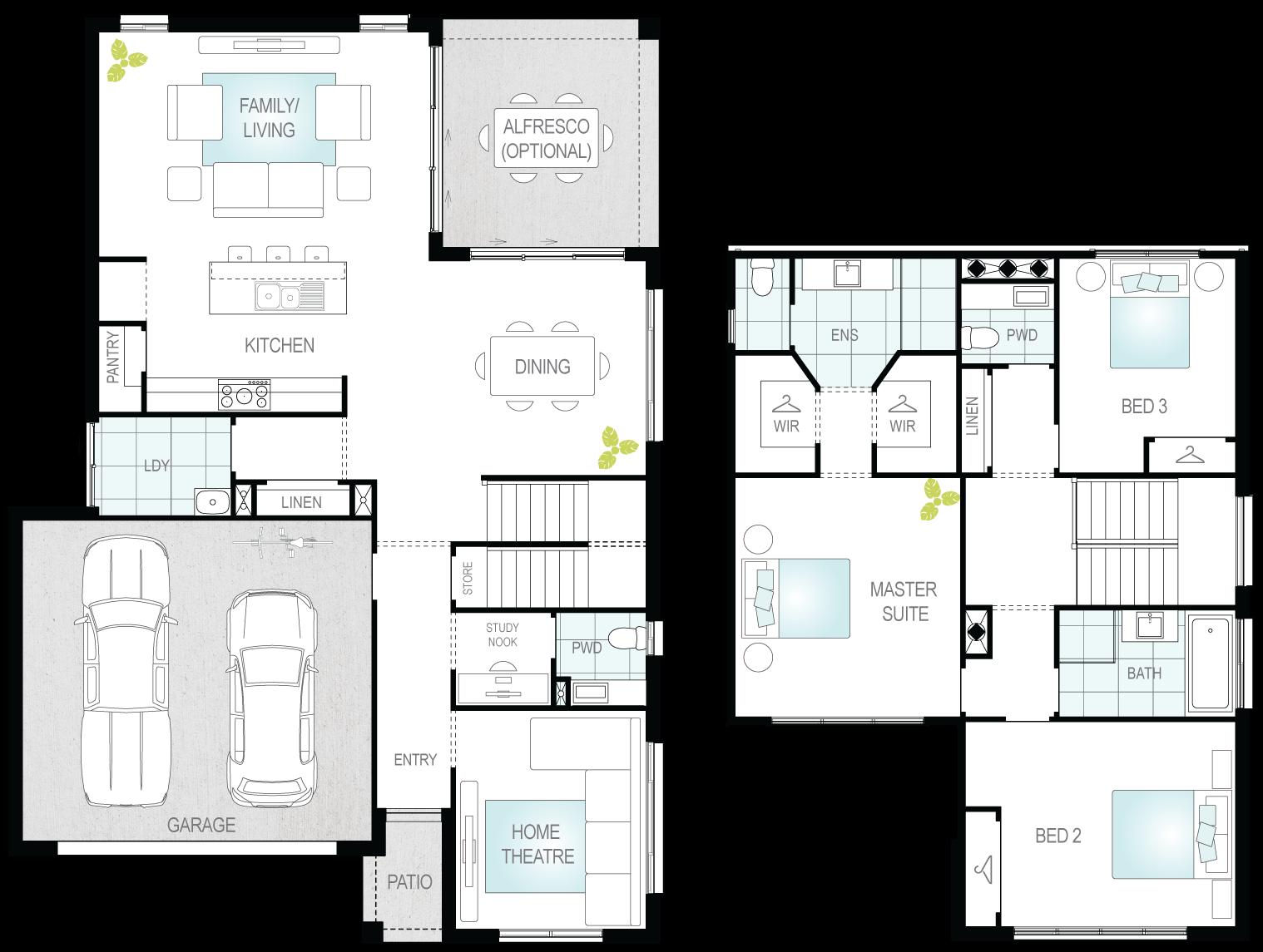 Silverstone One- Two Storey Floor Plan- McDonald Jones