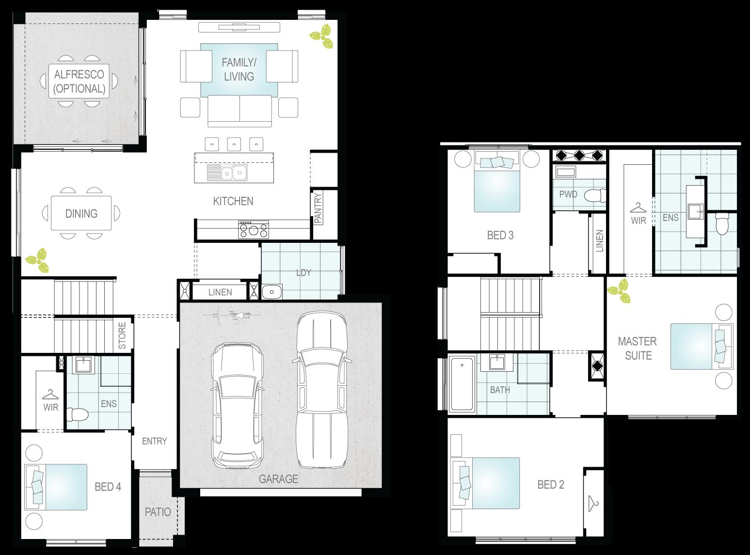 Silverstone Two- Two Storey Floor Plan- McDonald Jones