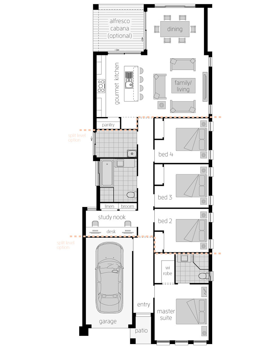 Floor Plan -  Hamilton Four - McDonald Jones