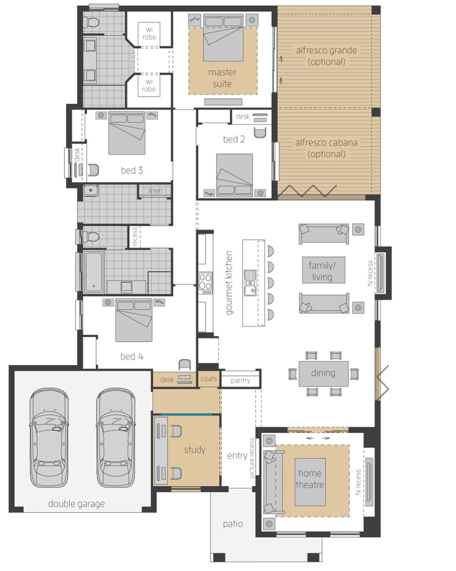 Floor Plan-Havana-Three-Upgrades-McDonald Jones