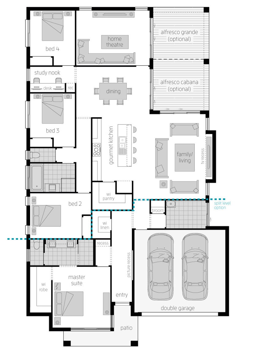 Floor Plan - Portsea One Zero Home Design - McDonald Jones