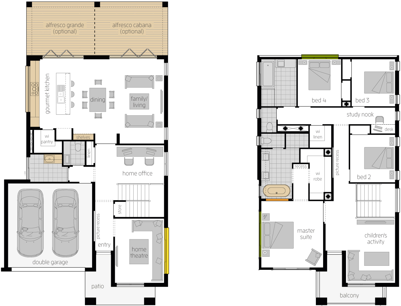 Floor Plan - Bridgetown 32 Luxury Two Storey Home - McDonald Jones