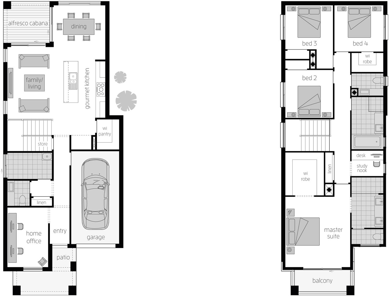 Floor Plan - Lawson 24 Two Storey Narrow Block Home - McDonald Jones