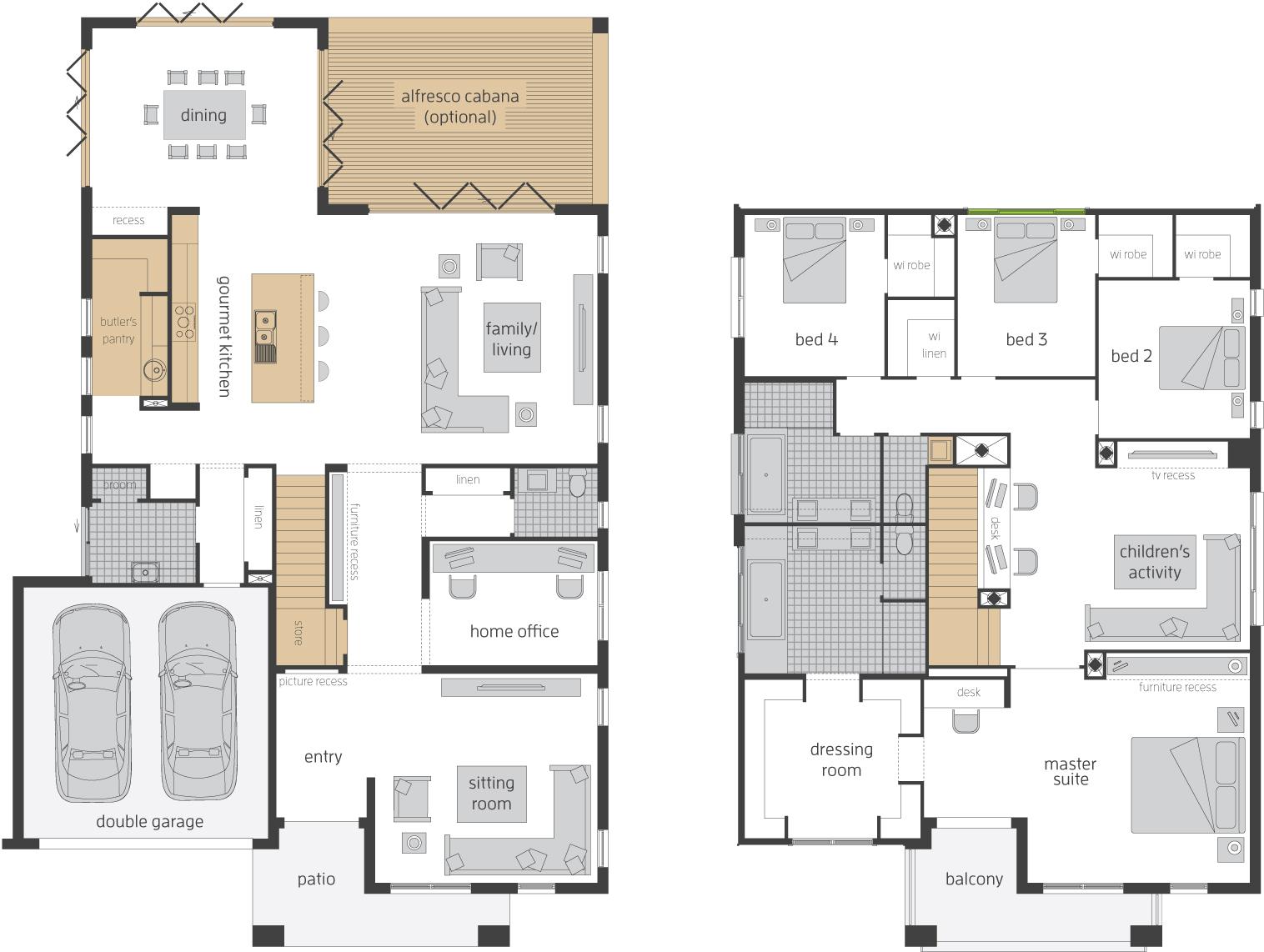 Floor Plan - Tallavera 45 Double Storey Home - McDonald Jones