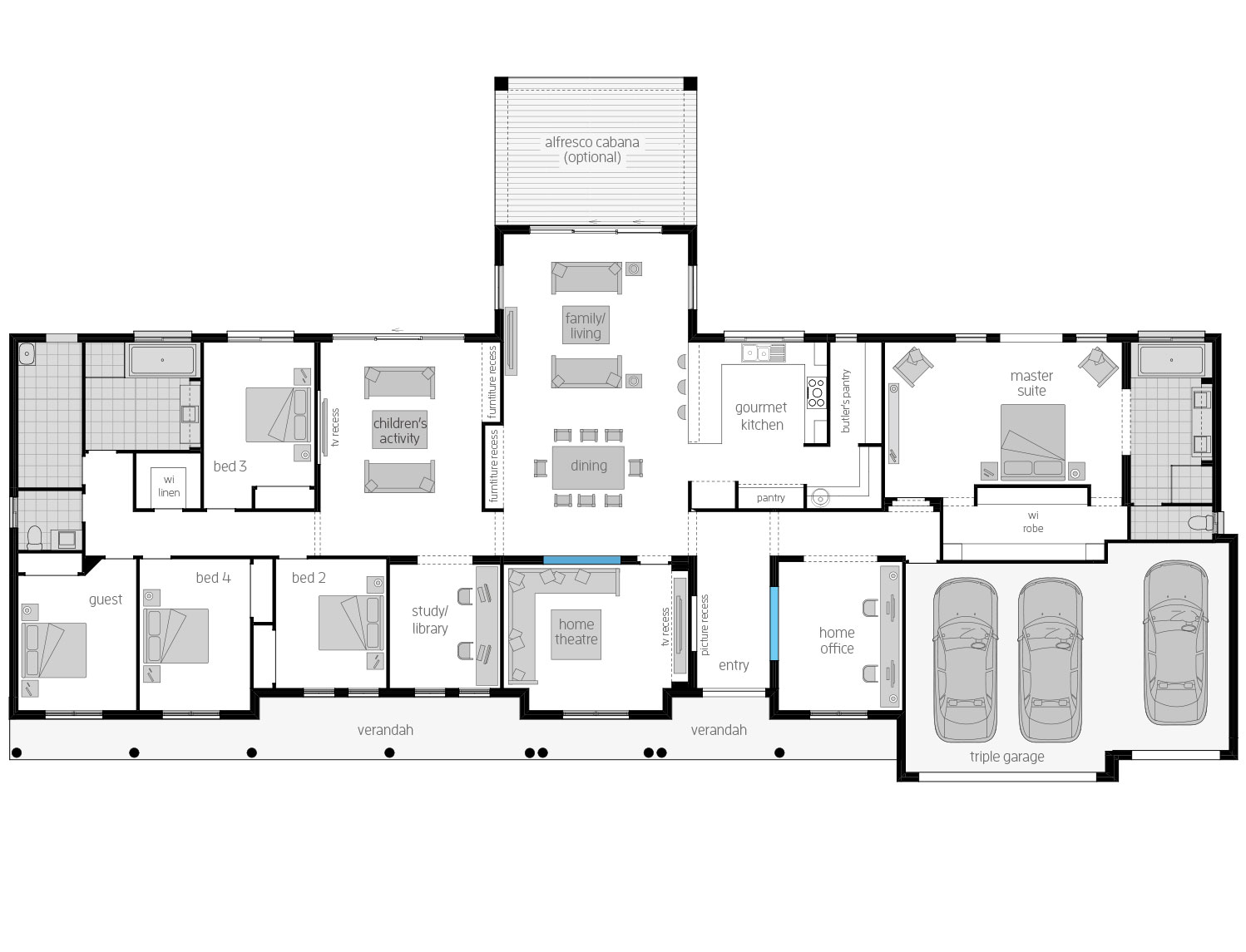 Floor plan barrington acreage home design mcdonald jones