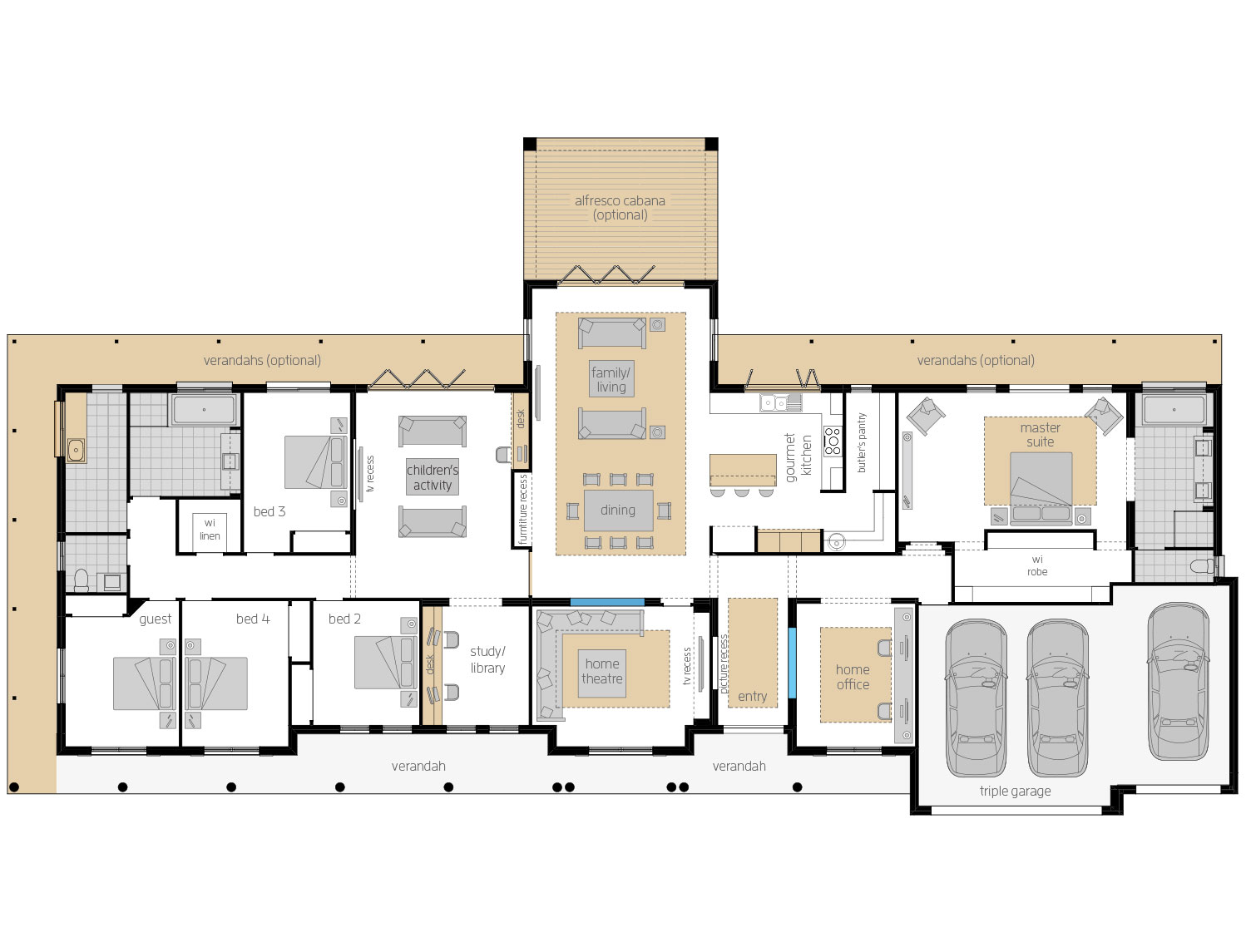 Floor Plan - Bronte - Farm Home Design - McDonald Jones