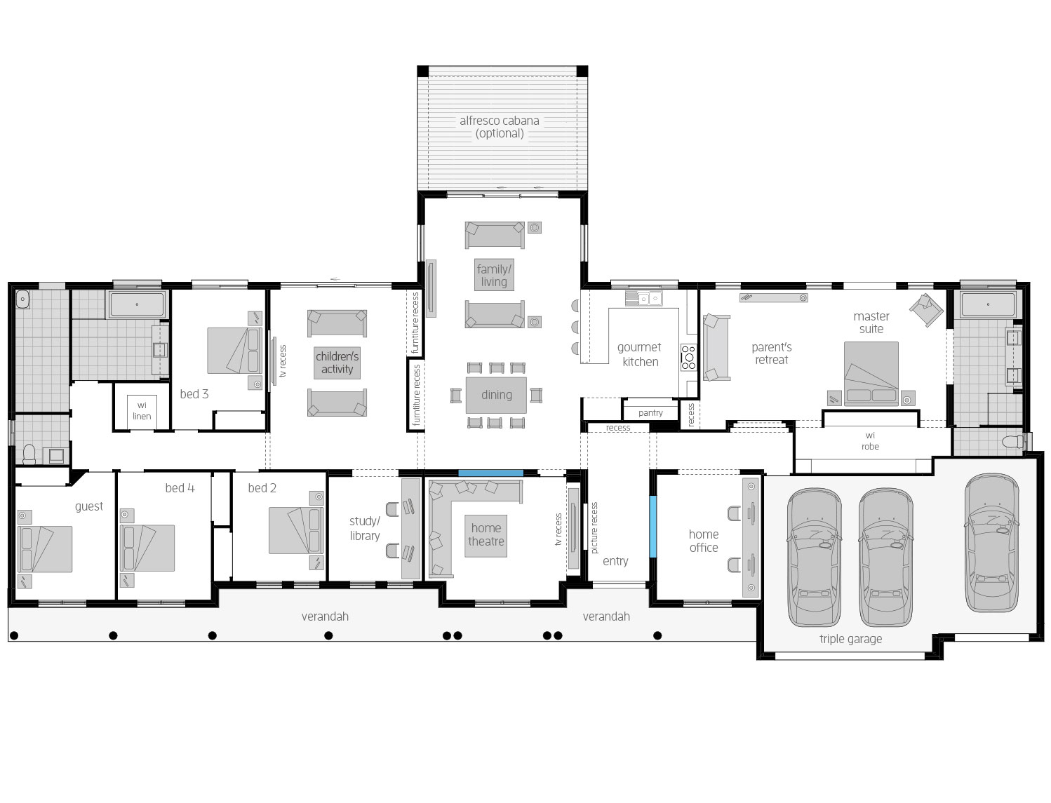 Floor Plan - Barrington - Acreage Home Design - McDonald Jones