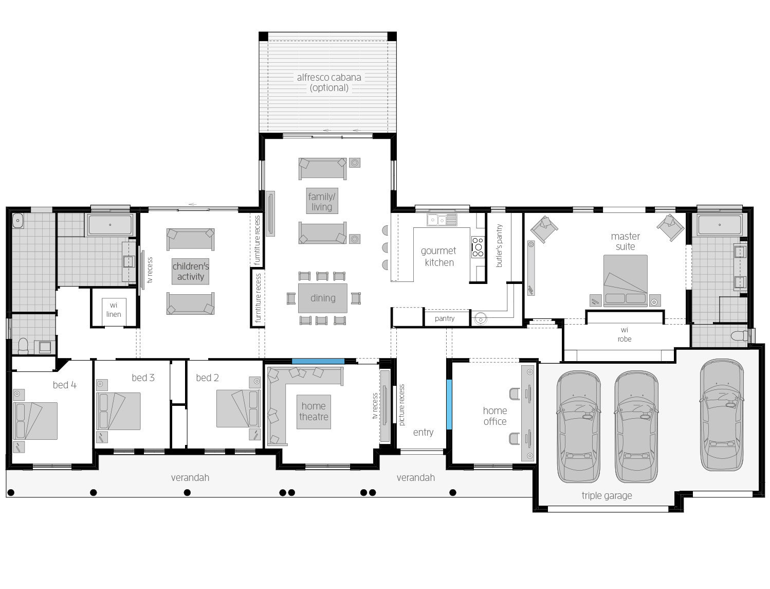 Floor Plan - Bronte - Acreage Home Design - McDonald Jones