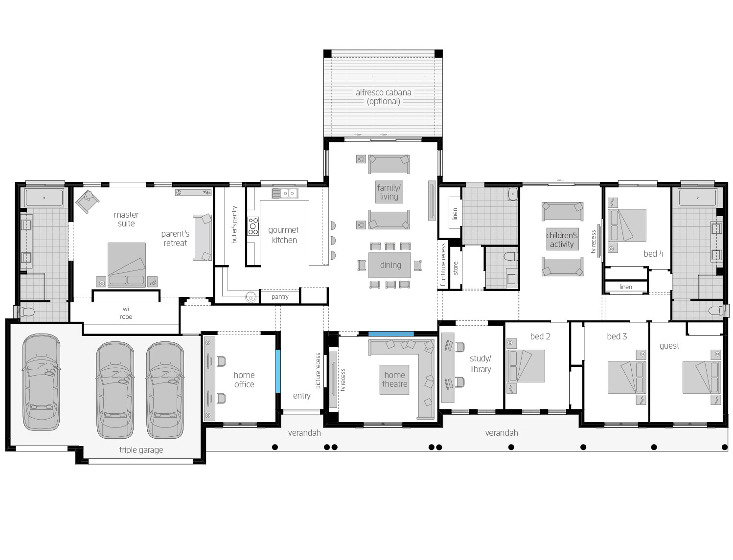 Floor Plan - Bronte - Ranch Style Home Design - McDonald Jones
