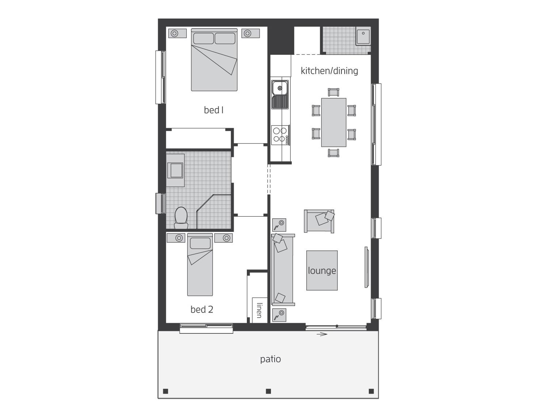 Floor Plan - Granny Flat 4 - McDonald Jones