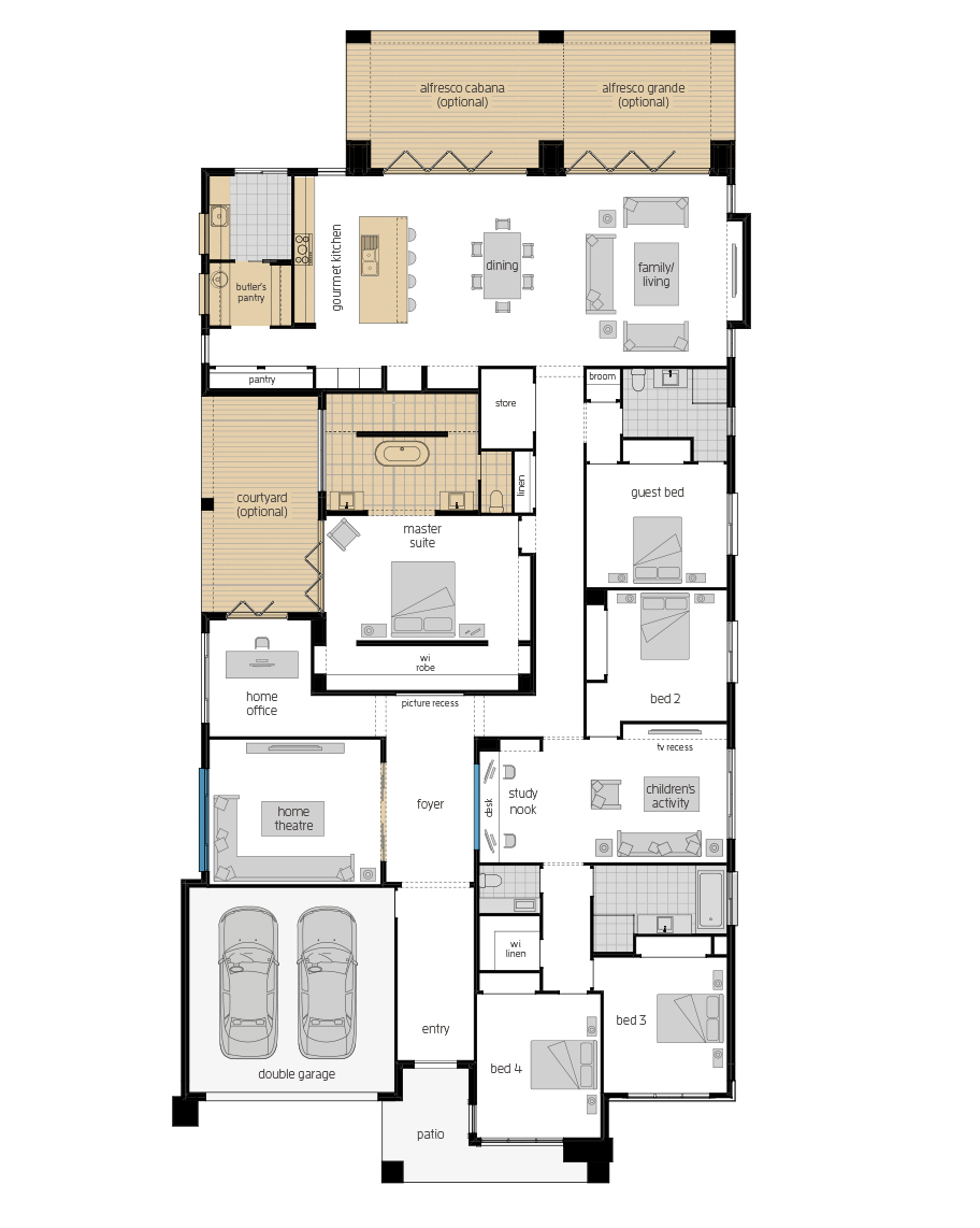 Floor Plan - Anchorage Luxury Home Design - McDonald Jones