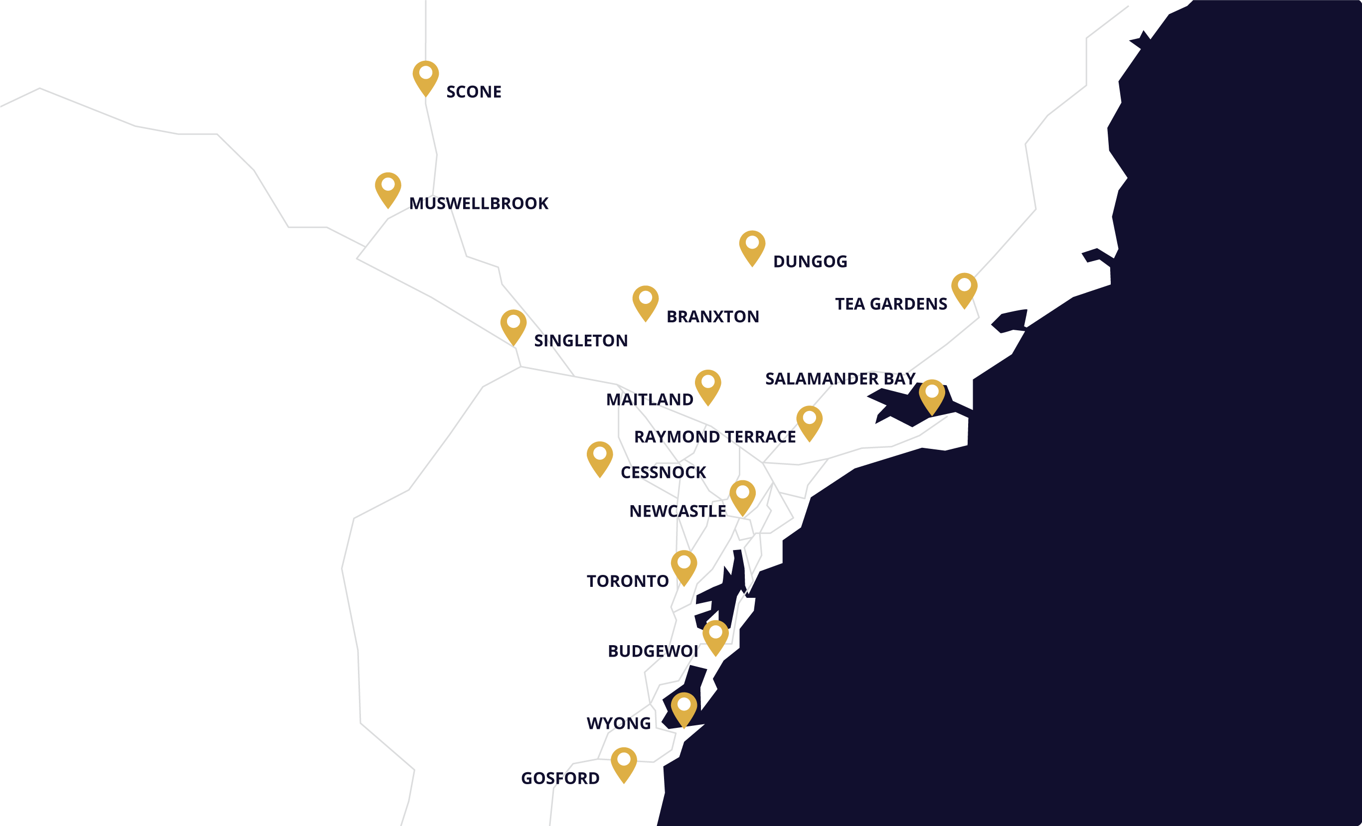 Newcastle and Hunter Valley Map