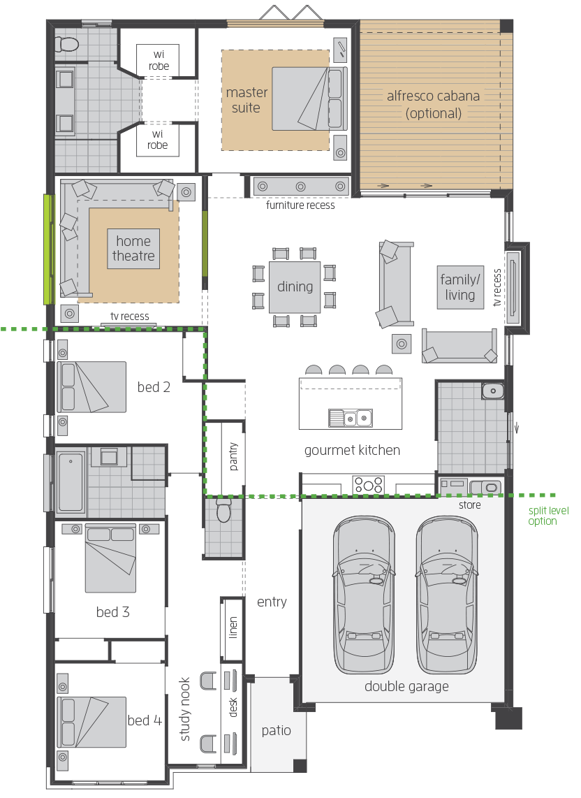 Santorini Executive upgrade floorplan lhs