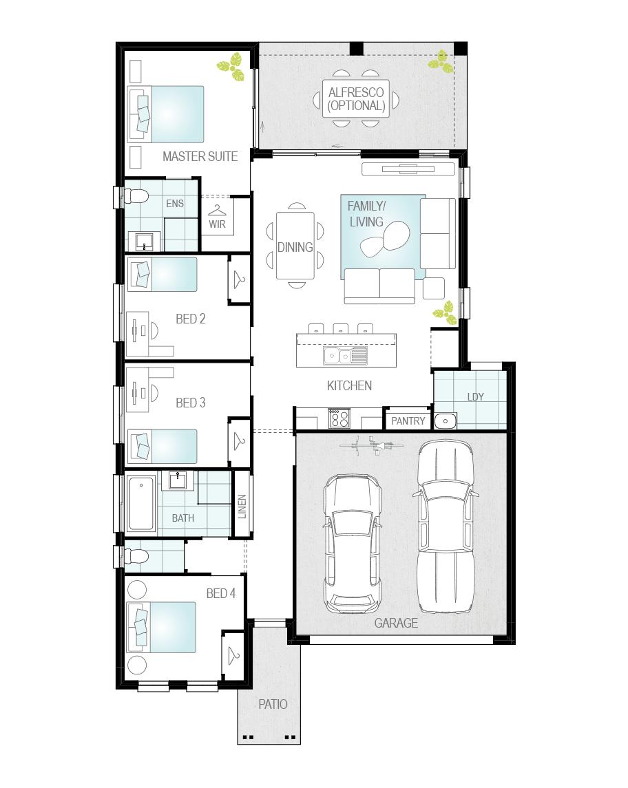 Floor Plan - Porto - Single Storey Home - McDonald Jones