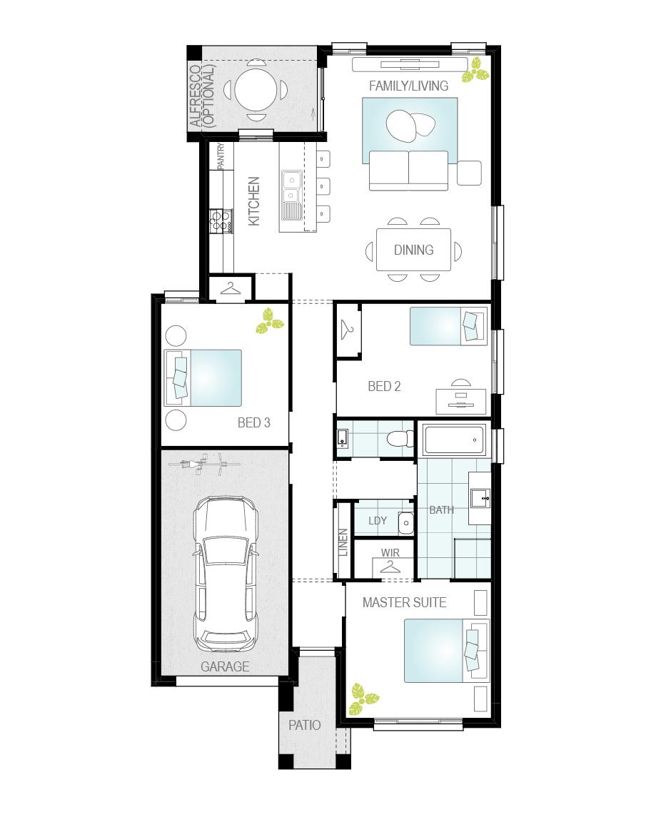Floor Plan - Tavira One - Single Storey Home - McDonald Jones