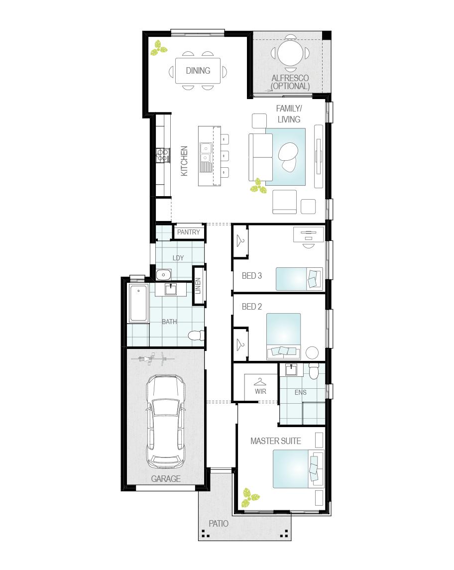 Floor Plan - Zamora One - Narrow Block Home - McDonald Jones