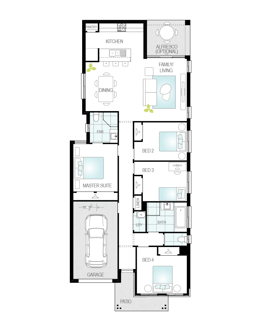 Floor Plan - Zamora Three - Narrow Block Home - McDonald Jones