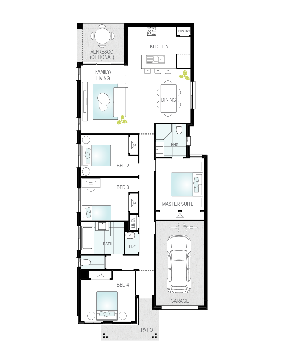 Floor Plan - Zamora Three - Narrow Block Home - McDonald Jones