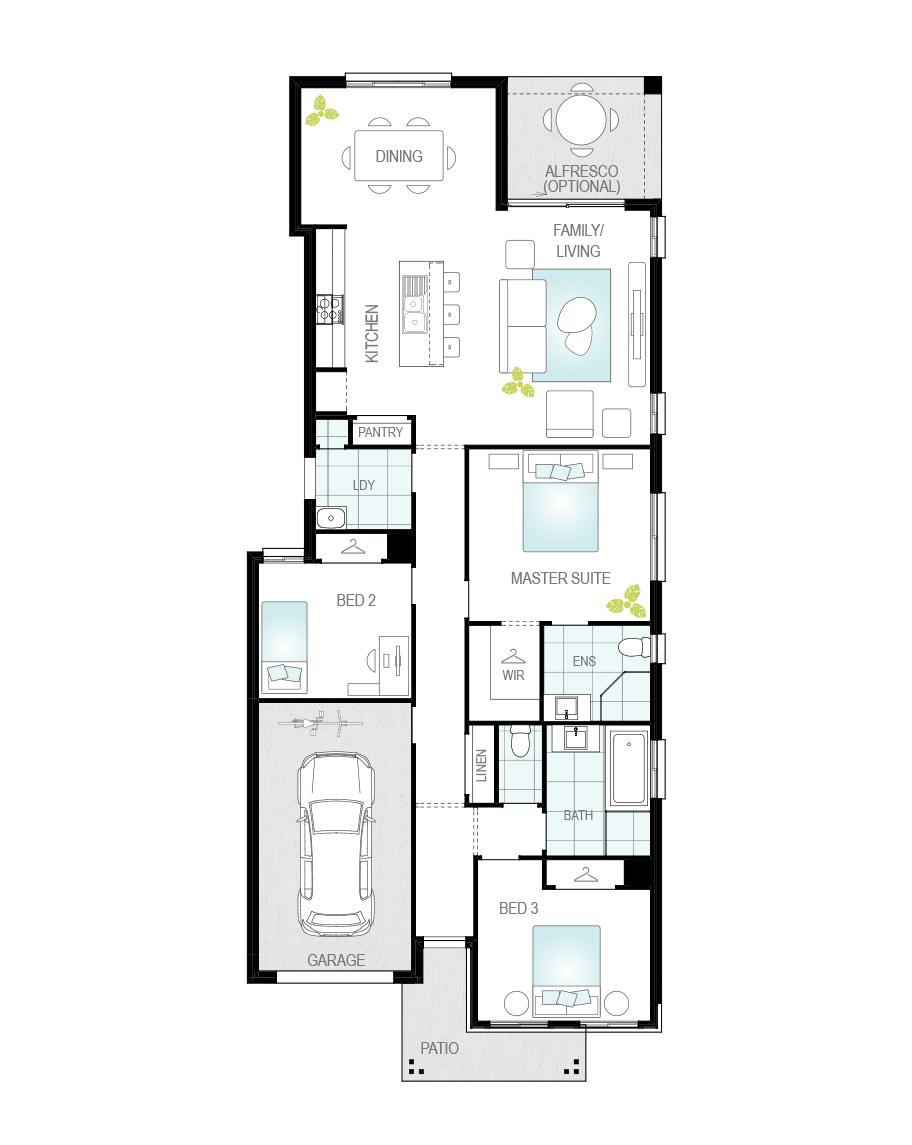 Floor Plan - Zamora Two - Narrow Block Home - McDonald Jones