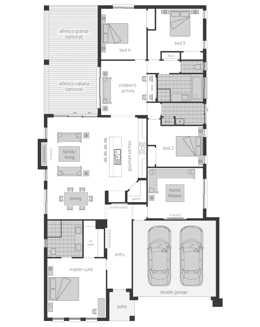 Floor Plan - Veuve - Home Designs Canberra - McDonald Jones